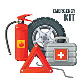 Emergency first aid kit in car and necessary auto service equipment vector. Fire extinguisher, emergency stop sign, jack-screw, spare wheel and hose