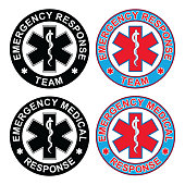 Emergency Medical Response Team is an illustration of an emergency response team emblem and an emergency medical response emblem. Each rescue symbol comes in both a black and white and color version.