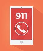 Emergency number 911 on smart phone screen icon. Vector flat cartoon illustration