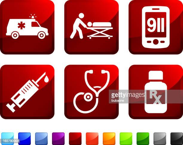 Emergency Room Services royalty free vector icon set stickers