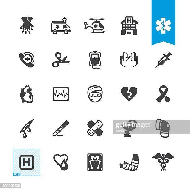 Los servicios de emergencia y ambulancia relacionadas con iconos vectoriales