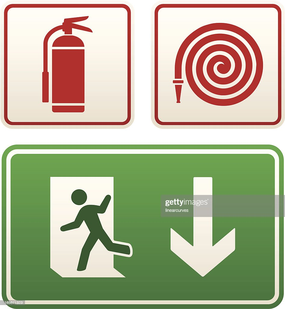 emergency signs exit sign fire extinguisher and hose