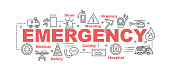 emergency vector banner design concept, flat style with thin line art emergency icons on white background