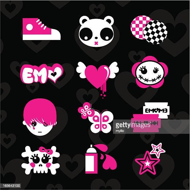Emoicons love emo rosa negro de adolescentes vector adhesivo