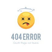 404 error page not found. Emoji dead with dizziness. Vector illustration isolated on white background for site web design
