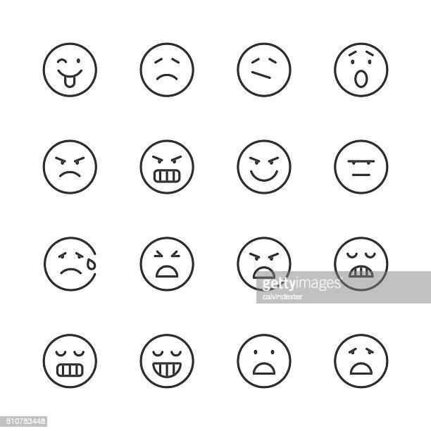 Emoji Icons set 6   Black Line series