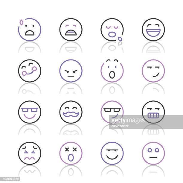 Emoji Icons set 7 | Purple Line series