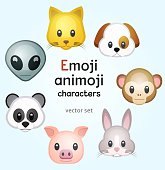 Emoji or animoji animal characters, color vector illustration