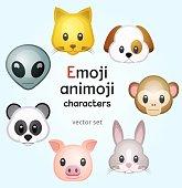 Emoji or animoji animal characters, color vector illustration