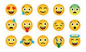 Emoji set. Cute funny emotional icons. Happy emoticons. Smiling faces symbols. Vector illustration.