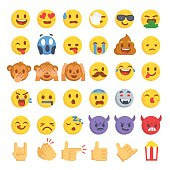 Cartoon emoji collection. Set of emoticons with different mood. Flat style vector illustration isolated on white background.
