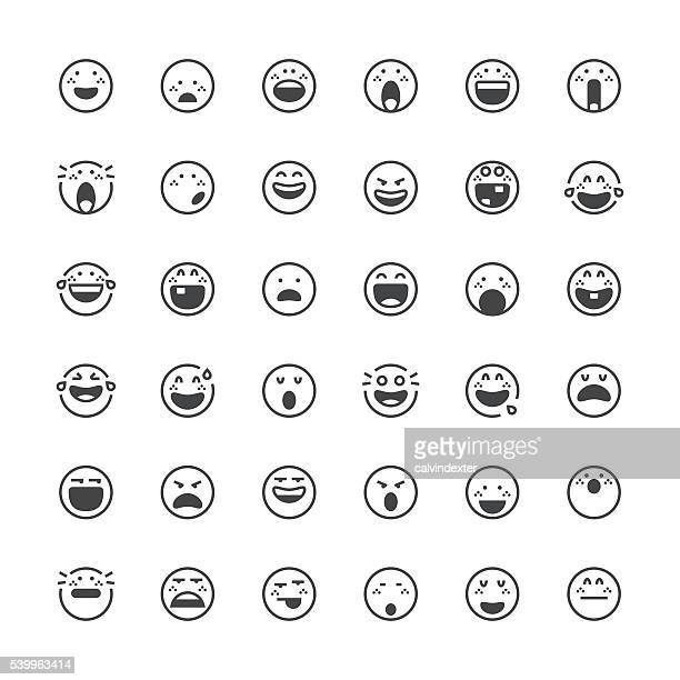 Emoticons set 14 | Thin Line series