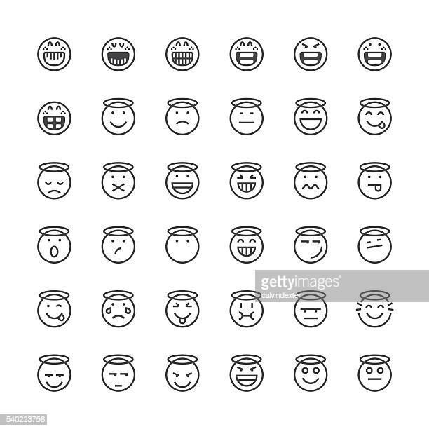 Emoticons-set 15/Thin Linie Serie