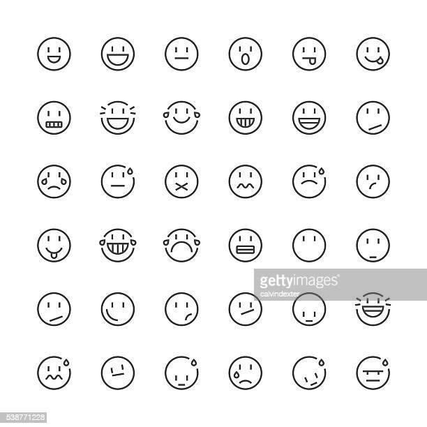 Emoticons set 5 | Thin Line series