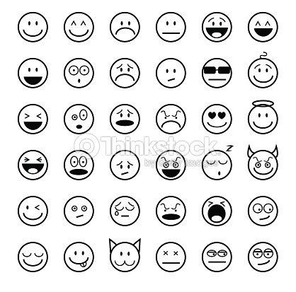 Emoticons set outline style vector art thinkstock - Smiley noir et blanc ...