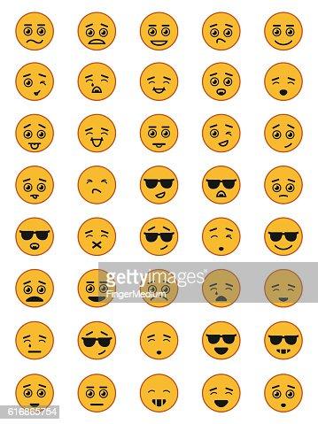 Emotion face icon set : Vector Art