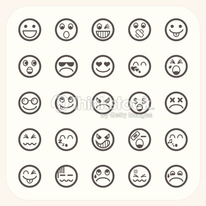 Emozioni faccia icone set arte vettoriale thinkstock - Smiley noir et blanc ...