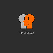 Emotional intelligence. Icon psychology. Psychologist. Two male profiles. Vector