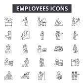 Employees line icons, signs set, vector. Employees outline concept illustration: employee,business,team,manager,people,person,teamwork,group,partnership