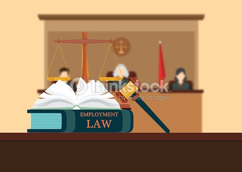 Employment Law Books With A Judges Gavel Vector Art