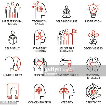 Empowerment leadership development and qualities of a leader icons : stock vector