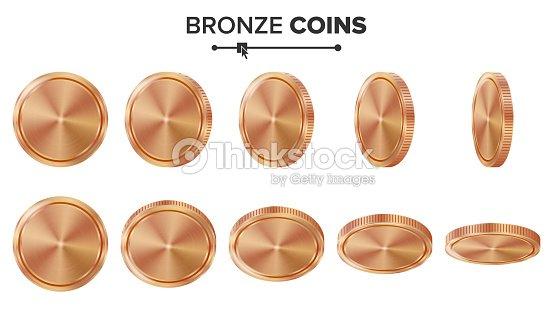 empty 3d bronze copper coins vector blank set realistic template