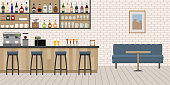 Empty Cafe Bar interior with wooden counter, chairs and equipment. Flat design vector illustration.