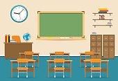 Empty classroom vector illustration. Nobody school class room interior with blackboard