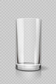 Empty drinking glass cup for water . Transparent vector.