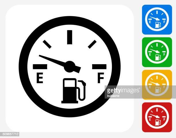 Empty Fuel Meter Icon Flat Graphic Design