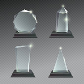 Empty glass trophy awards vector set. Glossy transparent realistic reward for winner and champion illustration