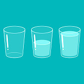 Glass of water set: empty, half full and full. Simple cartoon vector illustration.