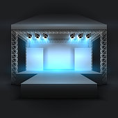 Empty music show stage with spotlights beams. Concert performance podium vector backdrop. Illustration of entertainment with spotlightl, scene podium