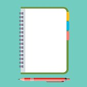 Empty Notepad with pen. Vector illustration in flat style. Reminder concept icon.