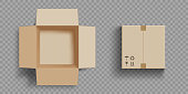 Empty open and closed cardboard box. Isolated on a transparent background. Vector illustration.