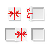 Empty open gift box with red color bow knot, ribbon isolated on white background. Happy birthday, Christmas, New Year, Wedding or Valentine Day package concept. Closeup Vector illustration 3d top view