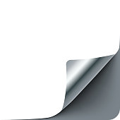 Empty paper sheet with silver gray curl corner, realistic vector paper template