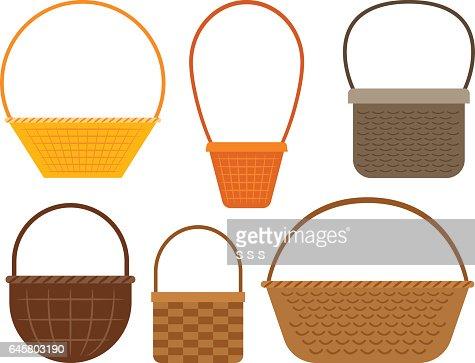 Empty picnic basket set : stock vector