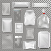 Empty plastic bag package mockup transparent pack 3d realistic wrap pack glossy advertising clean package vector illustration. Polythene pouch retail tupperware food template.