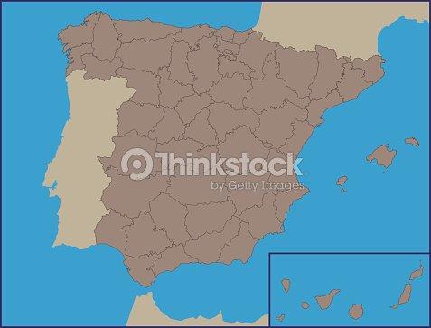 Empty Political Map Of Spain Vector Art | Thinkstock