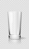 Empty realistic drinking glass cup. Transparent glassware vector illustration.