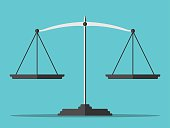 Empty scales on blue background. Flat style. Justice, law, decision, measurement, punishment concept. EPS 8 vector illustration, no transparency