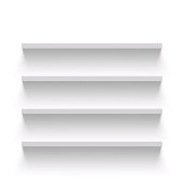 Empty shelves on a white wall. Vector Image.