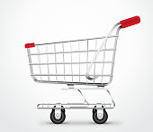 A Vector Illustration of an Empty Shopping Cart Trolley in isolated White Background