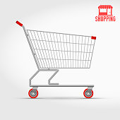 Empty Supermarket Shopping Cart, Side View. Detailed Vector Illustration. And a Shopping Icon as a Bonus.