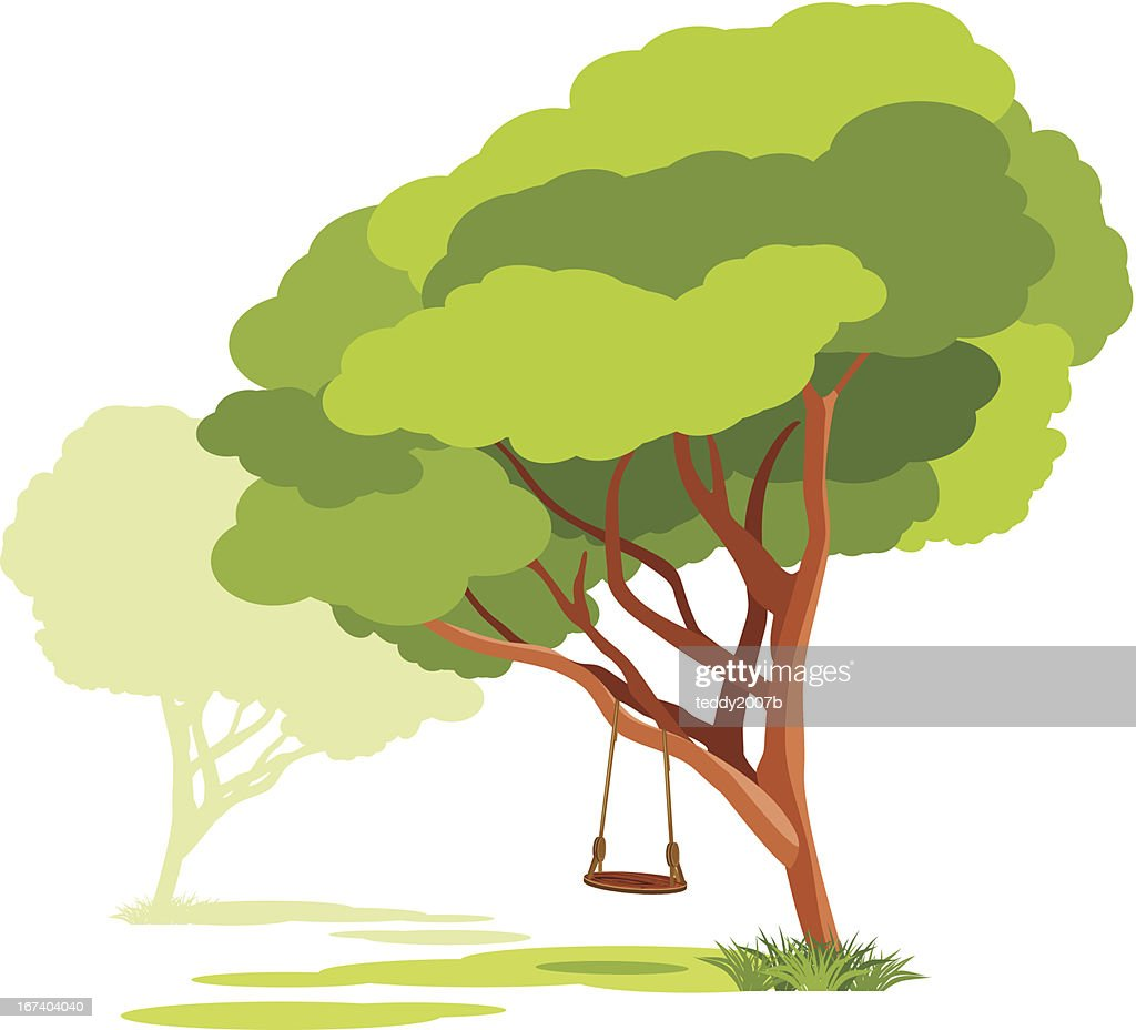 Empty swings on a spring tree : Vector Art