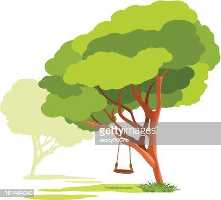 Leere Schaukeln auf einer Feder tree : Vektorgrafik