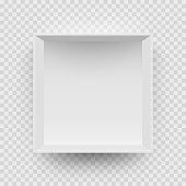 Empty white box mock up model 3D top view with shadow. Vector isolated blank cardboard open or white paper matchbook container box package template on transparent background