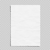Empty white paper sheet crumpled. Realistic blank page on transparent background. Vector illustration