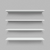 Empty white shop shelf isolated on transparent background. Realistic shelf for interior gallery and shop, vector illustration
